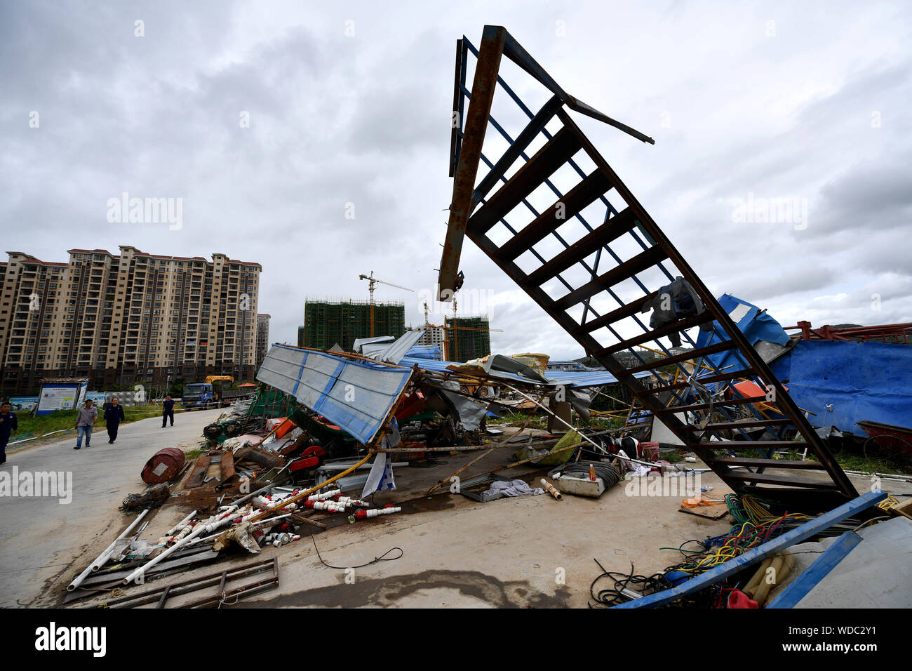Danzhou. 29th Aug, 2019. Photo taken on Aug. 29, 2019 shows the damaged site after a tornado ripped across Nada Township of Danzhou City, south China's Hainan Province. At least eight people died and one was seriously injured as a tornado lashed a township in China's southernmost island province of Hainan early Thursday morning, local authorities said. Credit: Guo Cheng/Xinhua/Alamy Live News Stock Photo