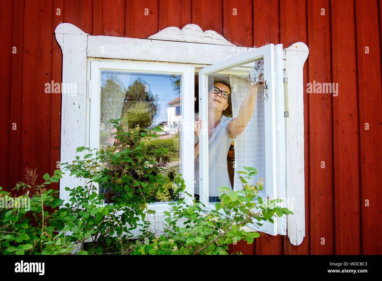 Mature Woman Cleaning Windows Stock Photo 266418435 Alamy
