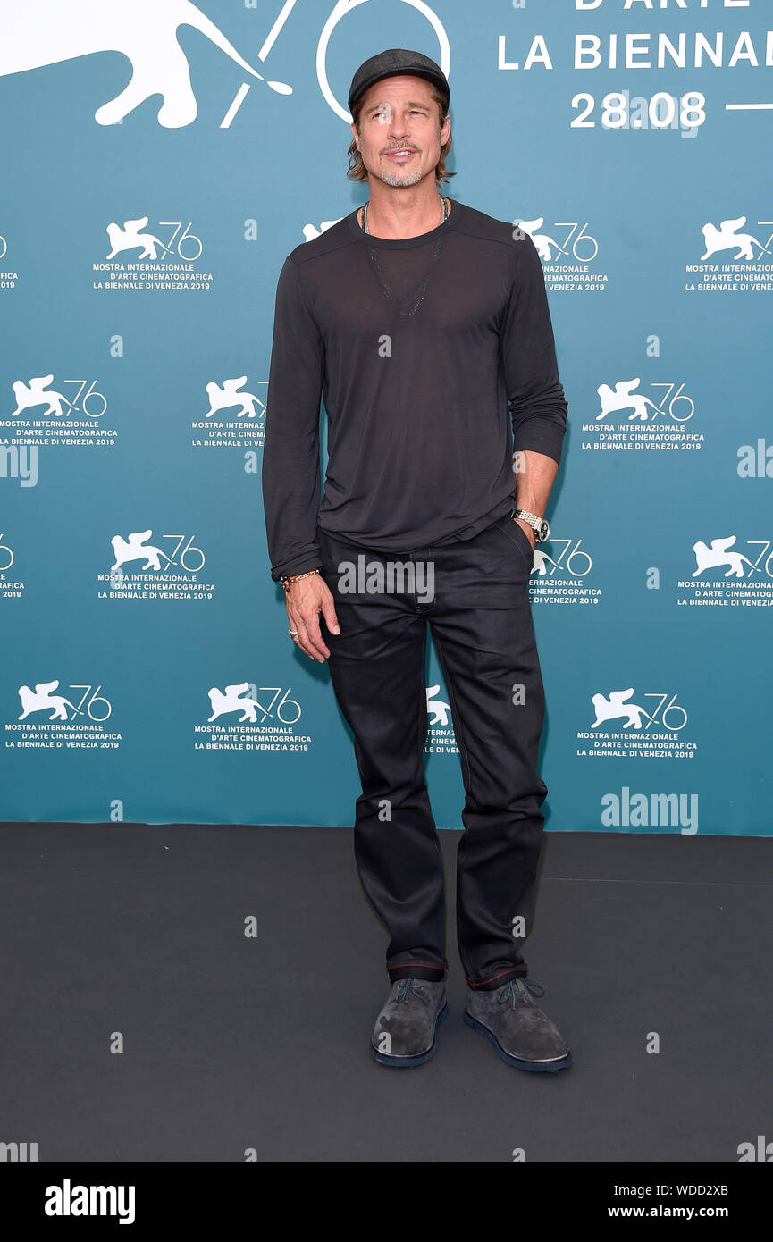 """Venice, Italy. 29th Aug, 2019. 76th Venice Film Festival 2019, Photocall film """"Ad astra"""". Pictured: Brad Pitt Credit: Independent Photo Agency/Alamy Live News Stock Photo"""