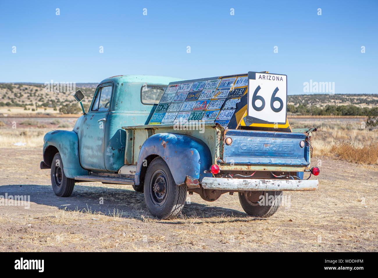 A Chevy truck at Ash Fork, Arizona Stock Photo