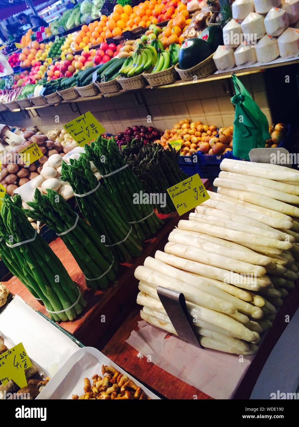 Various Vegetables And Fruits For Sale At Market Stock Photo