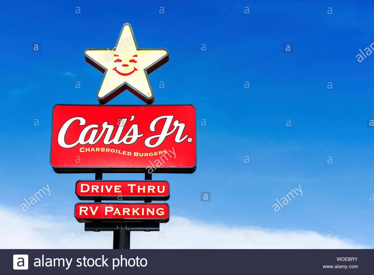 Los Angeles, California, USA - May 29 2015: Carl's Jr. is an American-based quick service restaurant chain operating in 44 states and 38 foreign count Stock Photo