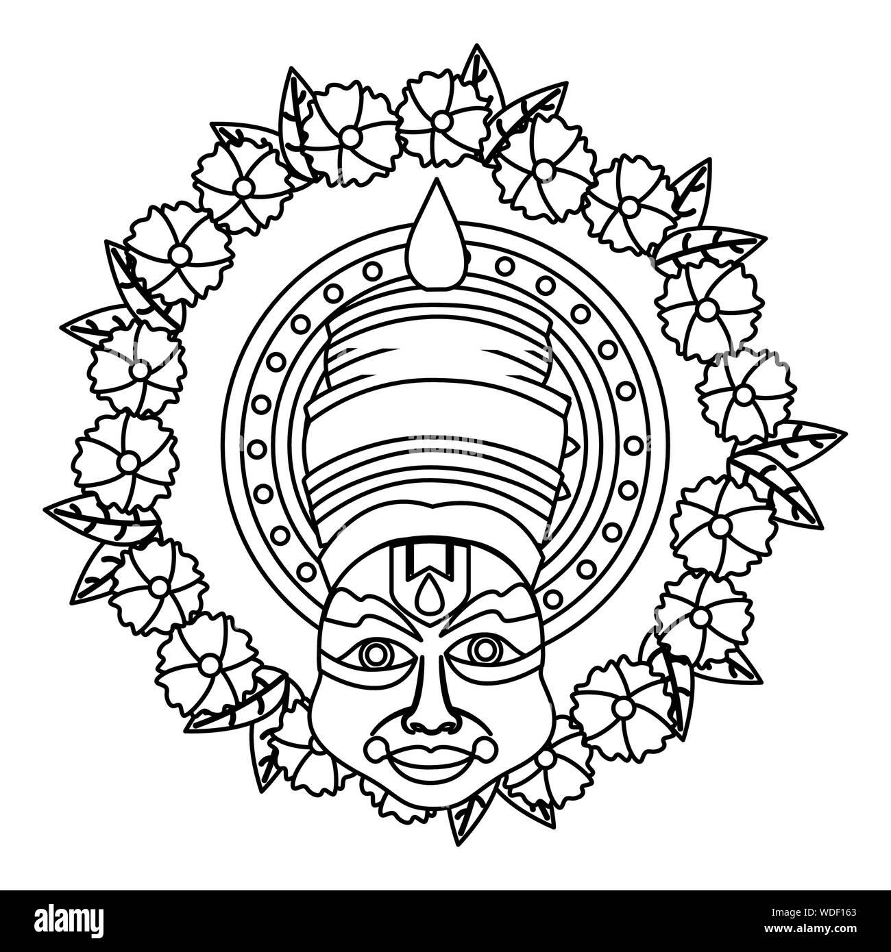 Kathakali Of Onam Celebration Design Stock Vector Image Art Alamy