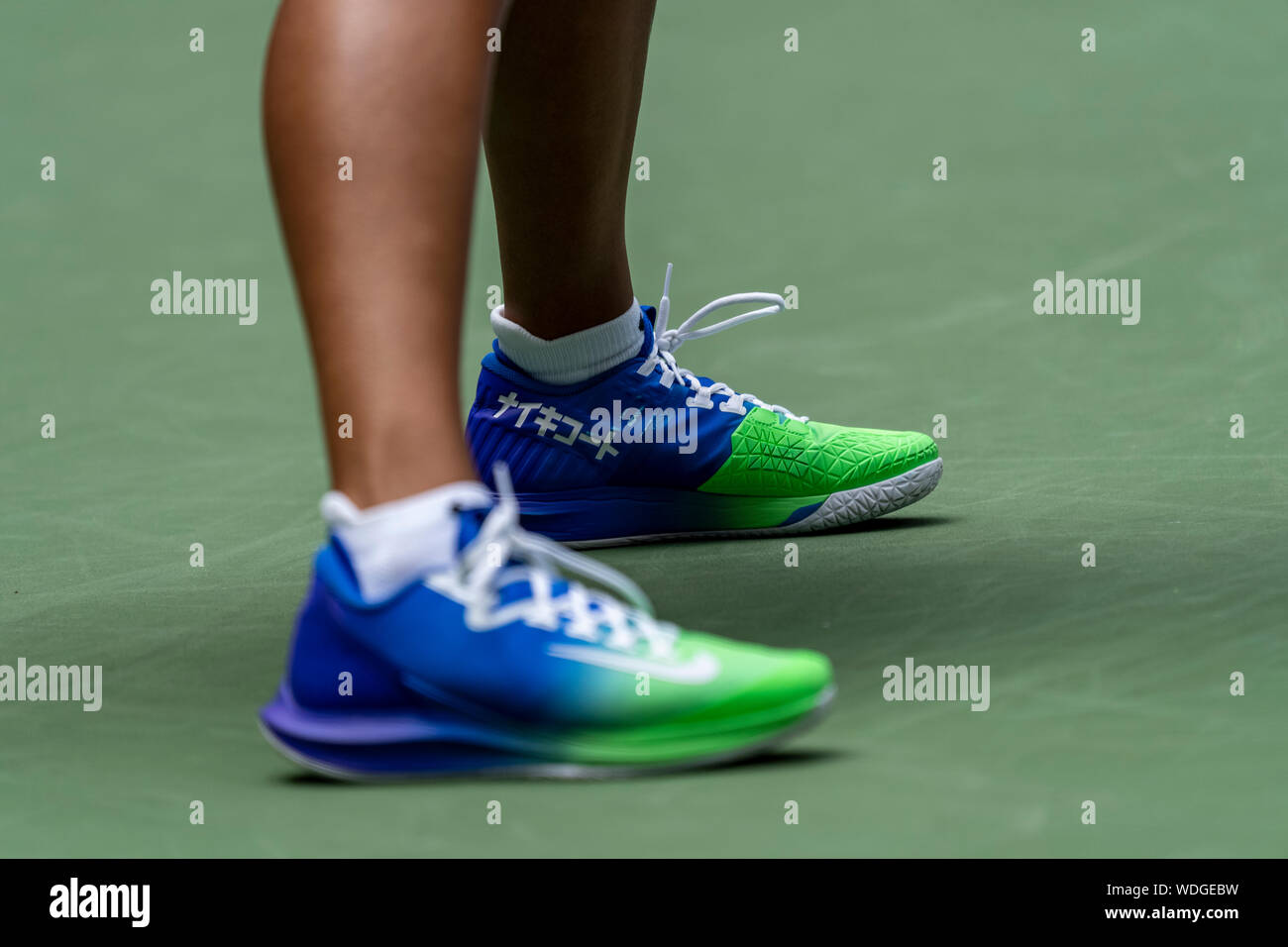 Naomi Osaka Jpn Competing In The First Round Of The 2019 Us Open Tennis Wearing Her Custom Nike Shoes Stock Photo Alamy