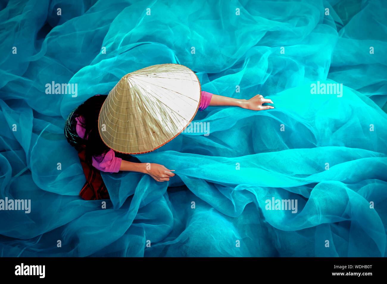 High Angle View Of Woman With Tulle Netting Stock Photo