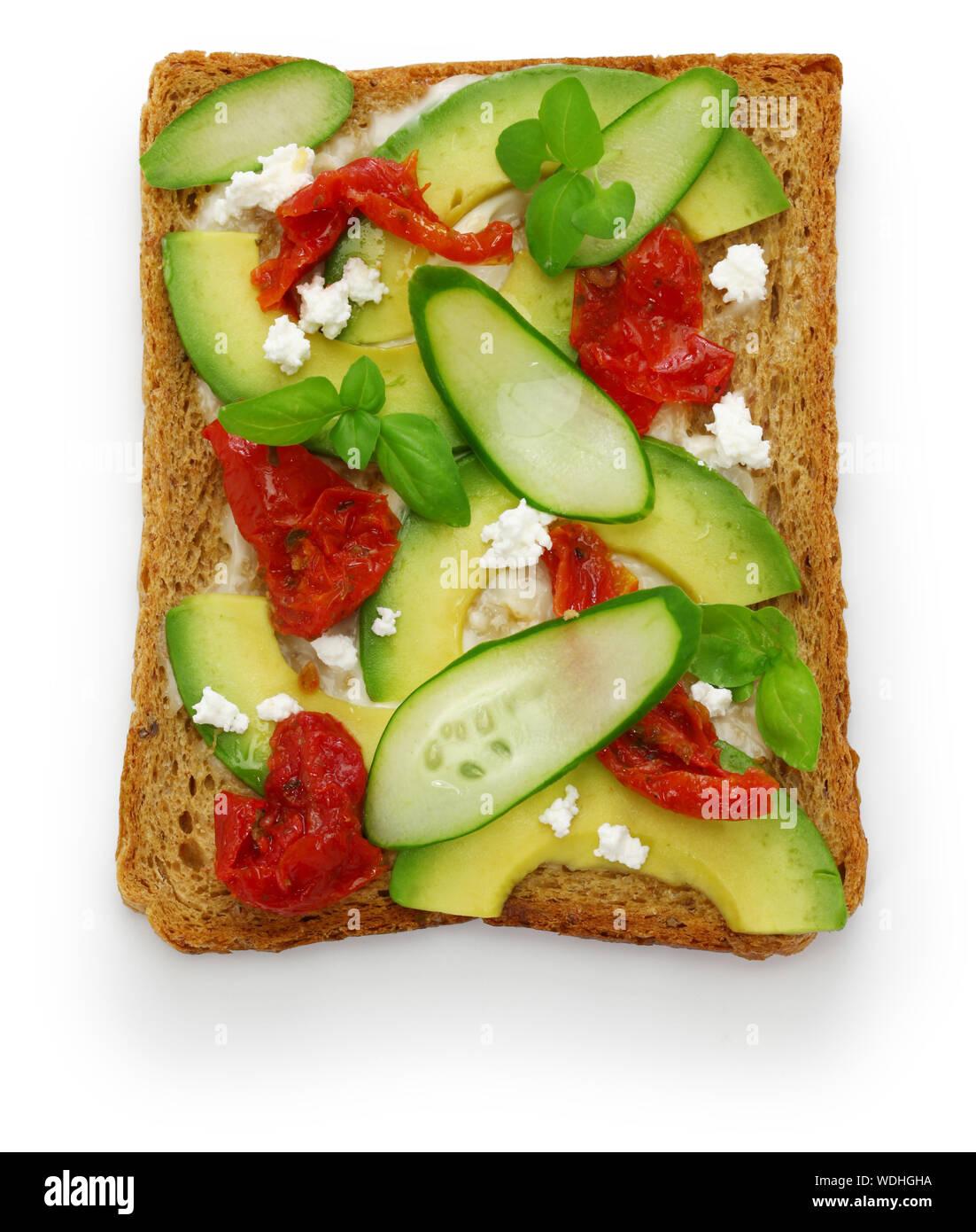 avocado toast open sandwich Stock Photo