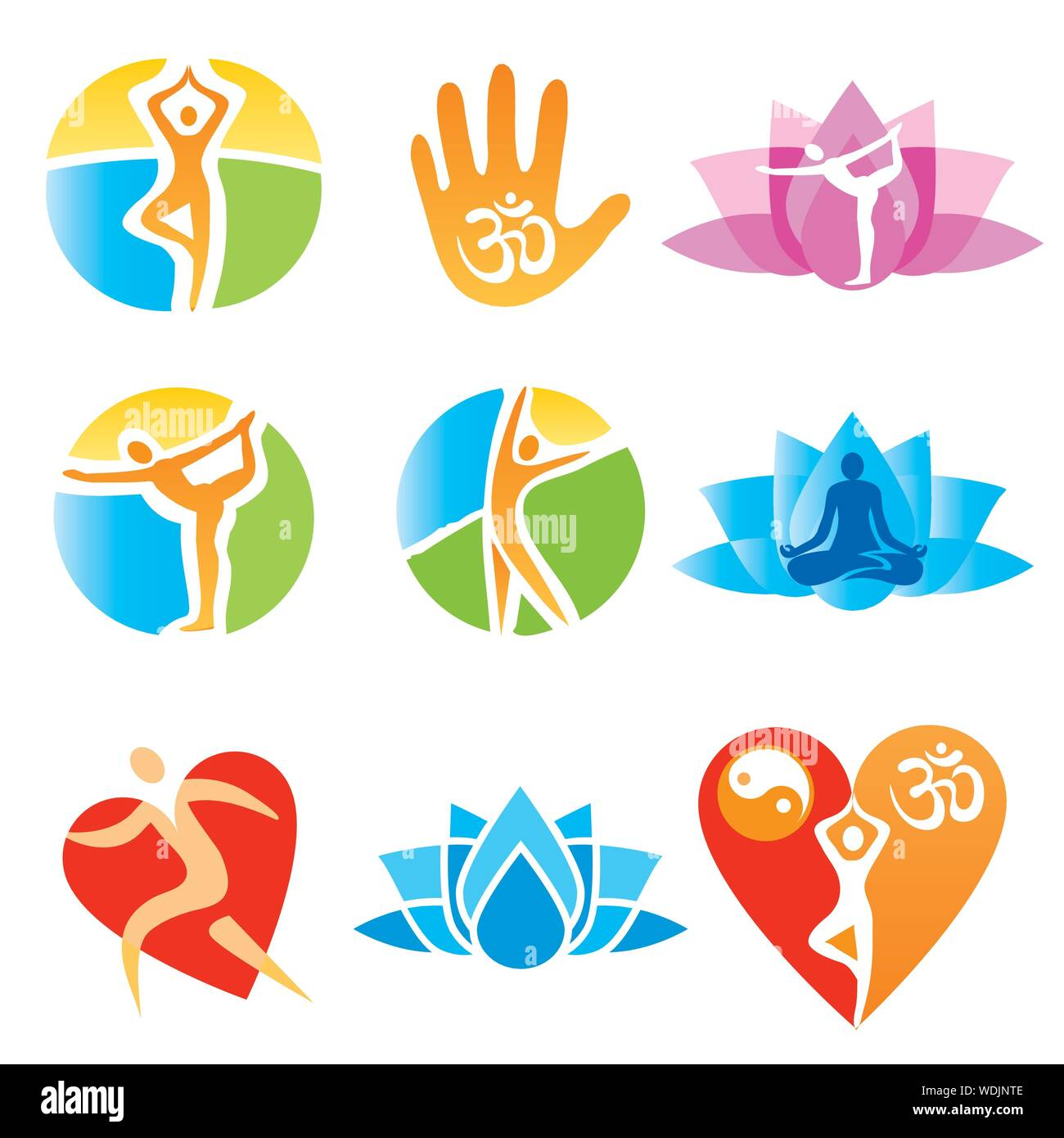 Icons Yoga Fitness Set Of Colorful Symbols Of Yoga And Healthy Lifestyle Isolated On White Background Vector Available Stock Vector Image Art Alamy