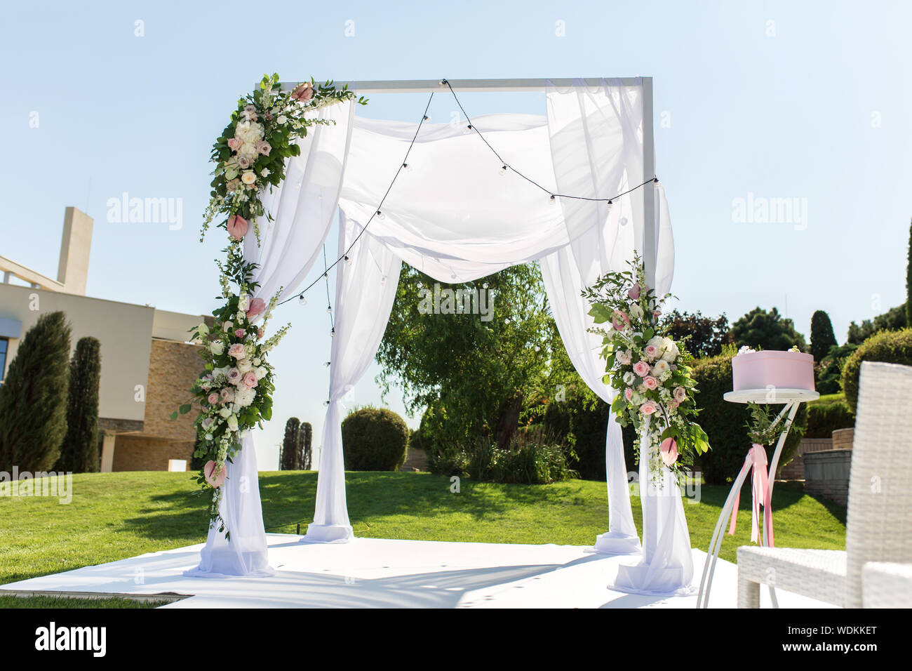 Beautiful Outgoing Wedding Set Up Jewish Hupa On Romantic Wedding Ceremony Wedding Outdoor On The Lawn Wedding Decor A Pink Box For Presents In Stock Photo Alamy