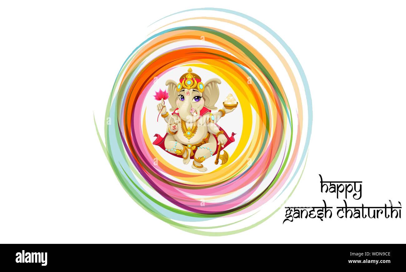 Happy Ganesh Chaturthi Colorful Illustration Vector Brush
