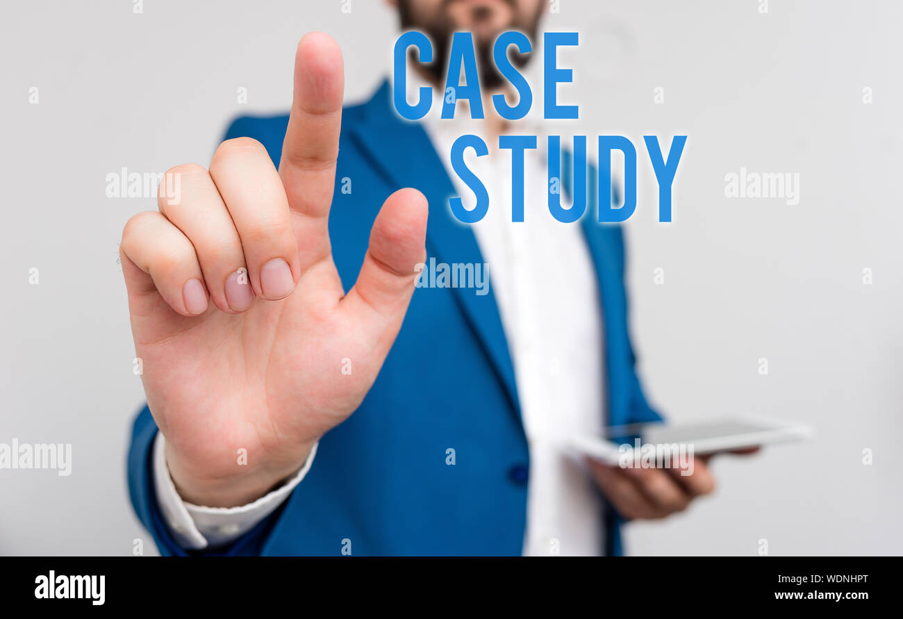 Conceptual hand writing showing Case Study  Concept meaning