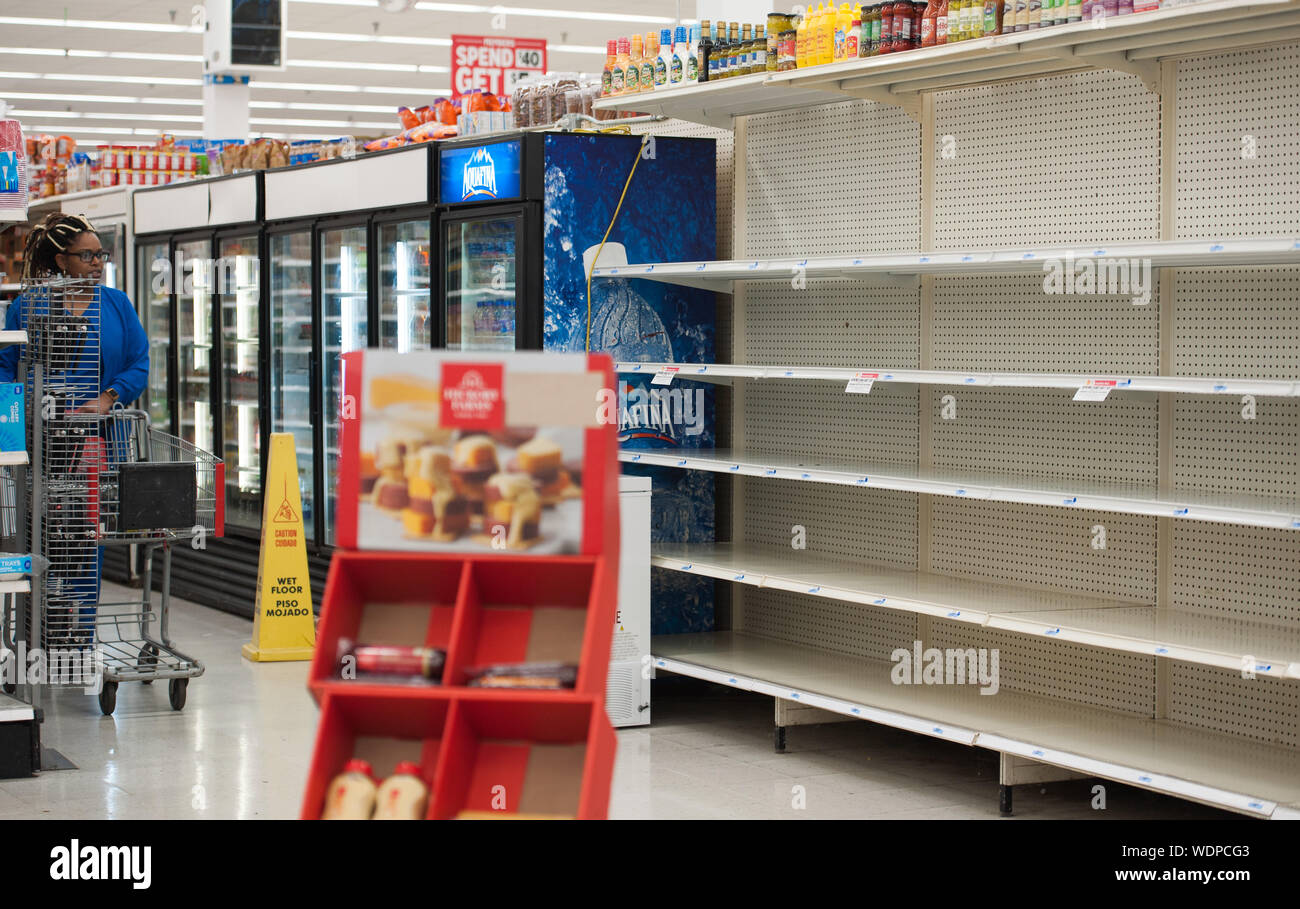 Fort Lauderdale, Florida, USA. 29th Aug, 2019. Water shelves are emptied as residents of Florida stock up with water in preperation for hurricane Dorian, in Fort Lauderdale, Fla. Florida Governor, Ron Desantis, declared a state of emergency for 26 counties in Florida, as the hurricane is forecast to hit Florida as a major category 4 hurricane Credit: Orit Ben-Ezzer/ZUMA Wire/Alamy Live News Stock Photo