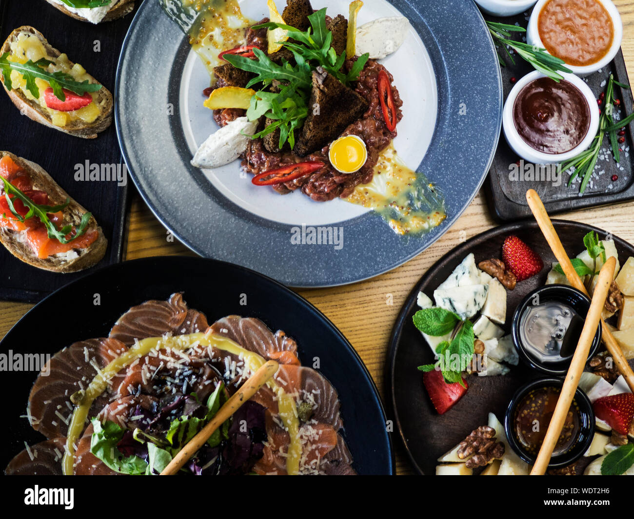 High Angle View Of Fresh Meal Served On Table Stock Photo