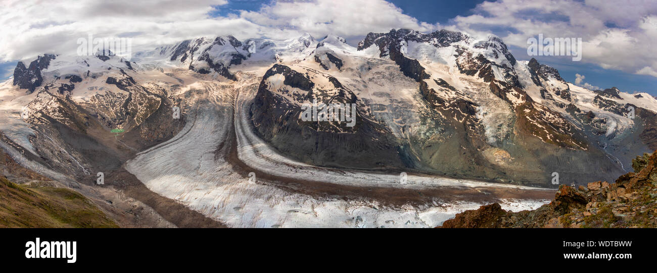 Gorner Glacier 2019:  I had the chance to hike down in this wonderful area of Switzerland.  A place to see. Stock Photo