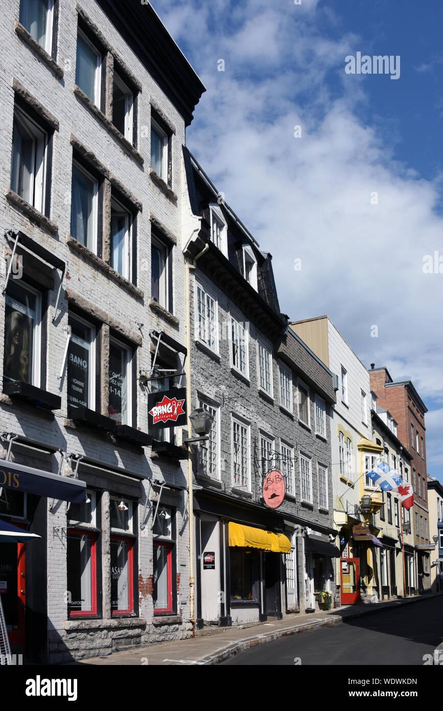 Quebec City, Canada - April, 12, 2019: Historic buildings of ...