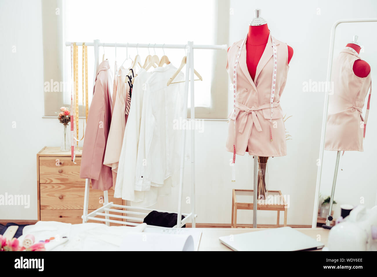 Fashion Designer Showroom Studio Workshop Background With New Collection Of Pink Pastel Female Clothing Design Tailor And Sewing Concept Dressmaker Stock Photo Alamy