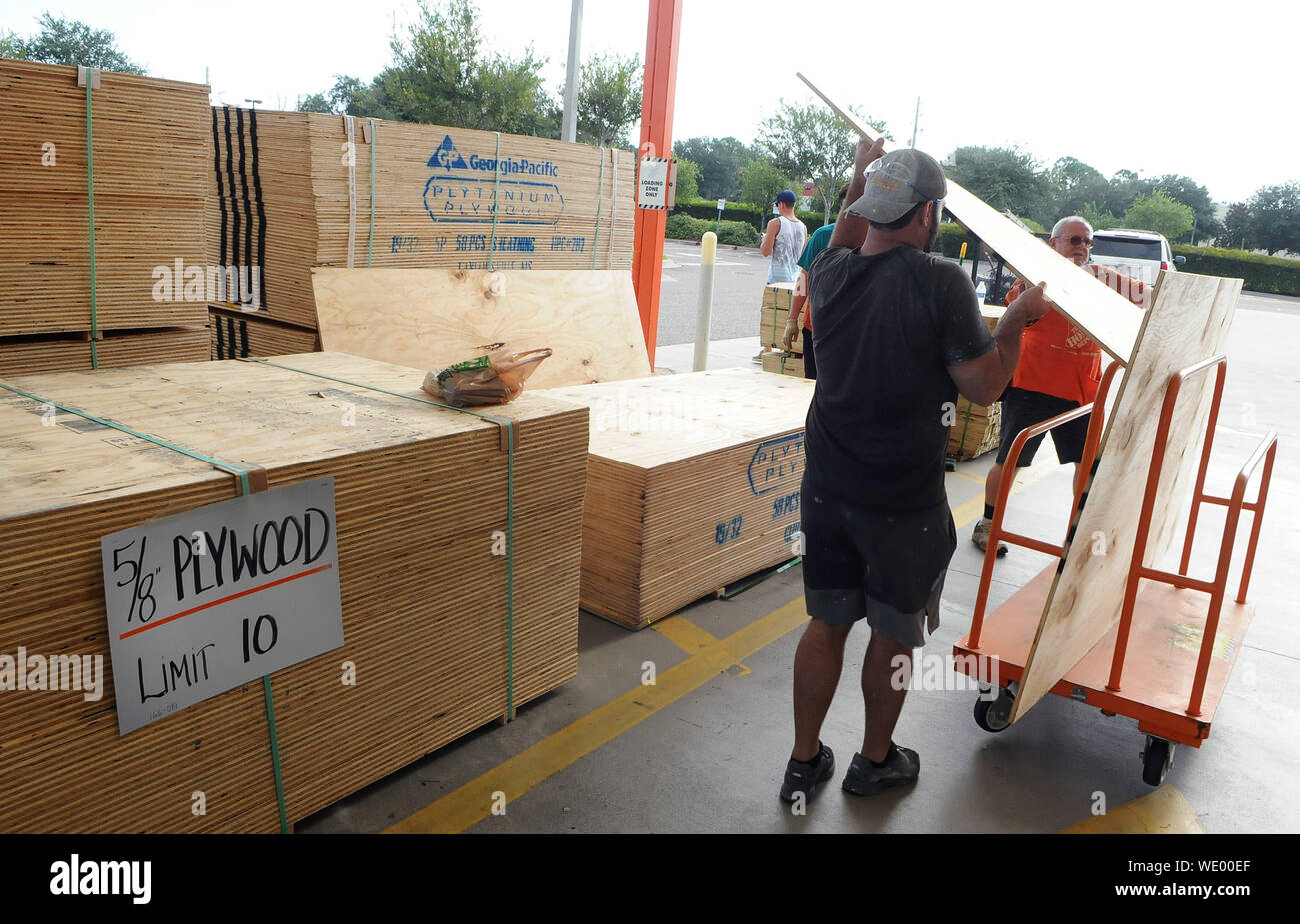 Titusville, United States. 29th Aug, 2019. A customer loads sheets of plywood into a cart at a Home Depot store in preparation for the arrival of Hurricane Dorian which is expected to become a Category 4 hurricane before making landfall in Florida on Labor Day. Credit: SOPA Images Limited/Alamy Live News Stock Photo
