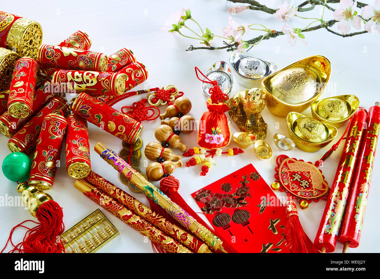 Chinese new year dog festival decorations , (Chinese characters in the article refer to good luck, wealth, money flow)means fortune and luck Stock Photo