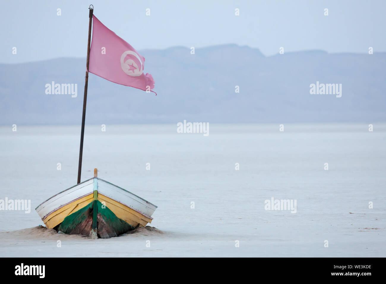Flag On Boat At Chott El Djerid Stock Photo