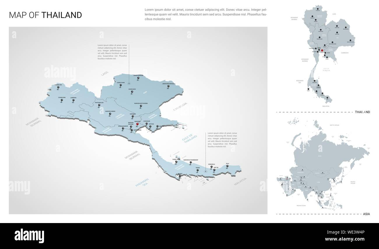 Vector set of Thailand country. Isometric 3d map, Thailand ...