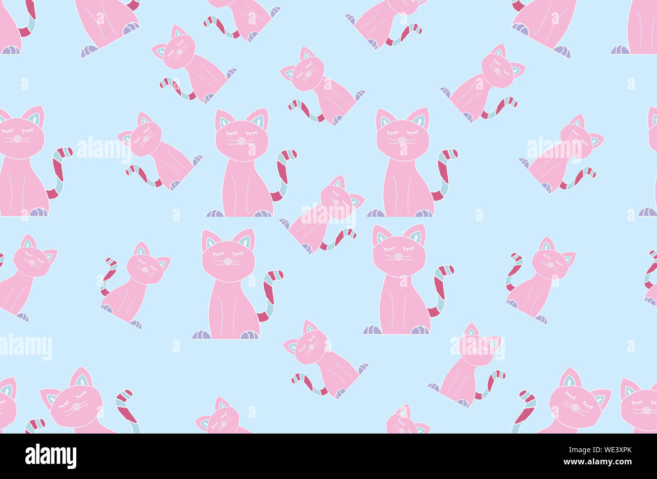 Pink Cat Seamless Pattern On Pastel Blue Background Simple And Cute Cat Illustration For Kids Wallpapers Or Wrapping Paper Adorable And Happy Design Stock Photo Alamy
