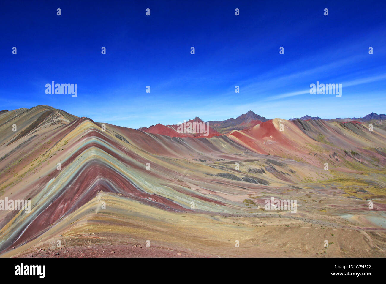 View Of Mountain Range Against Blue Sky Stock Photo