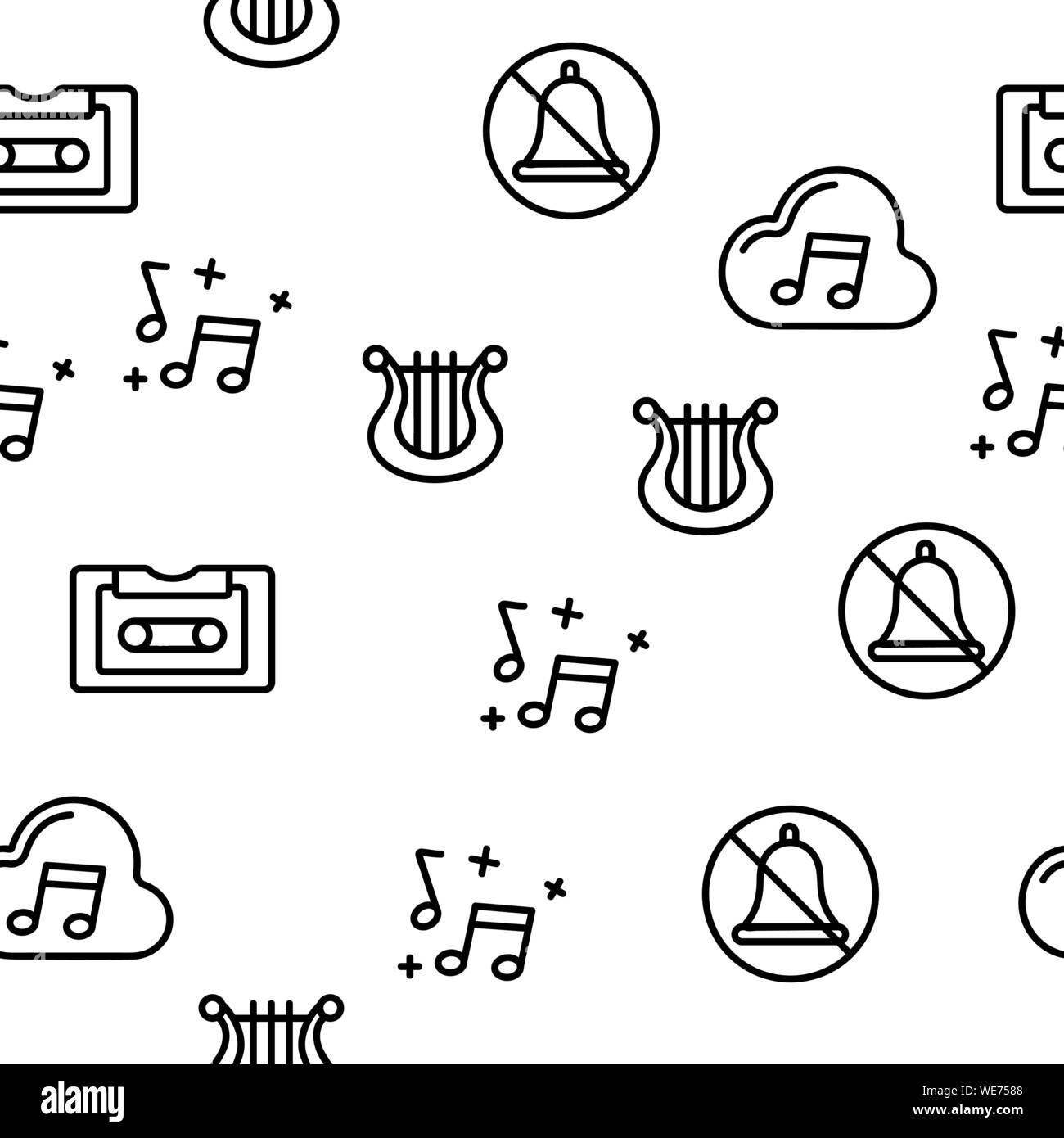 Music, Audio Vector Seamless Pattern Stock Vector