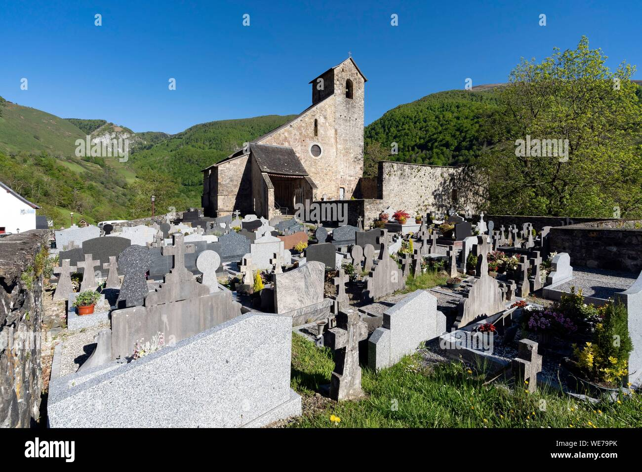 France, Pyrenees Atlantiques, Basque country, Haute Soule valley, Sainte Engrace, the Romanesque church of the same name, founded in 1085 by the abbey of Leyre in Navarre Stock Photo