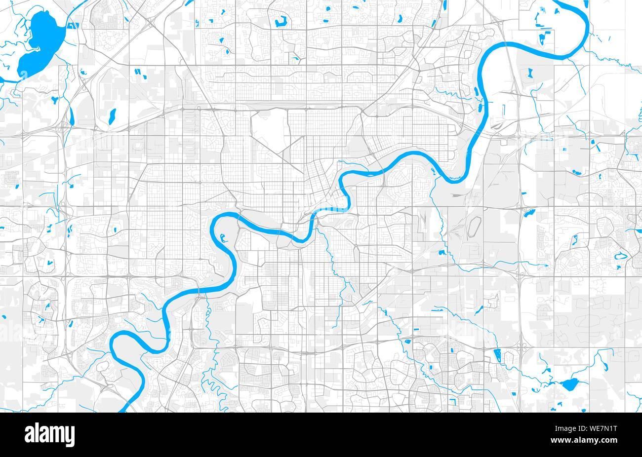 Rich detailed vector area map of Edmonton, Alberta, Canada ...