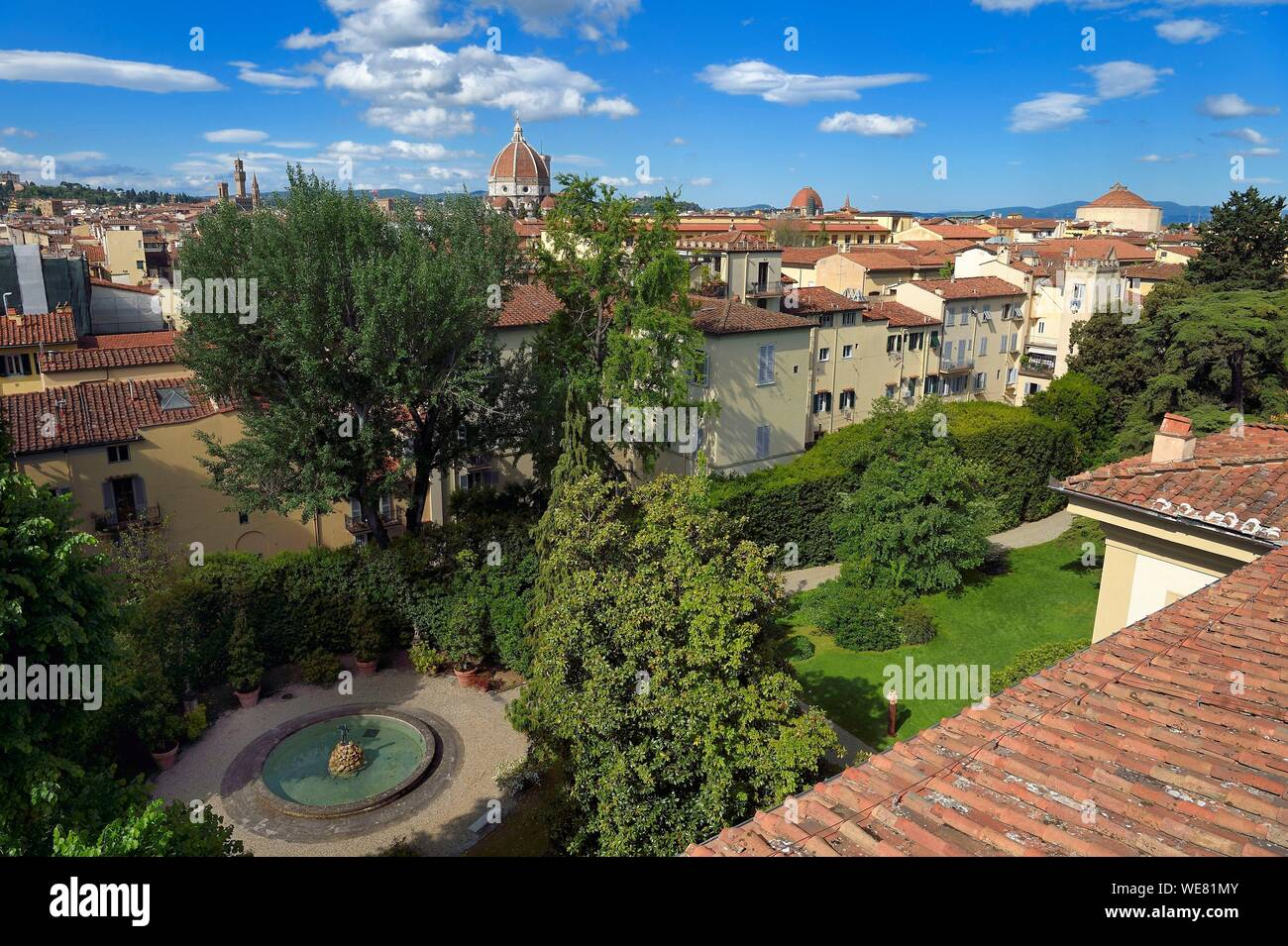 Italy, Tuscany, Florence, listed as World Heritage by UNESCO, view of the historic center of the old town from the Palazzo Della Gherardesca, 5 star palace Four Seasons Hotel Firenze Stock Photo