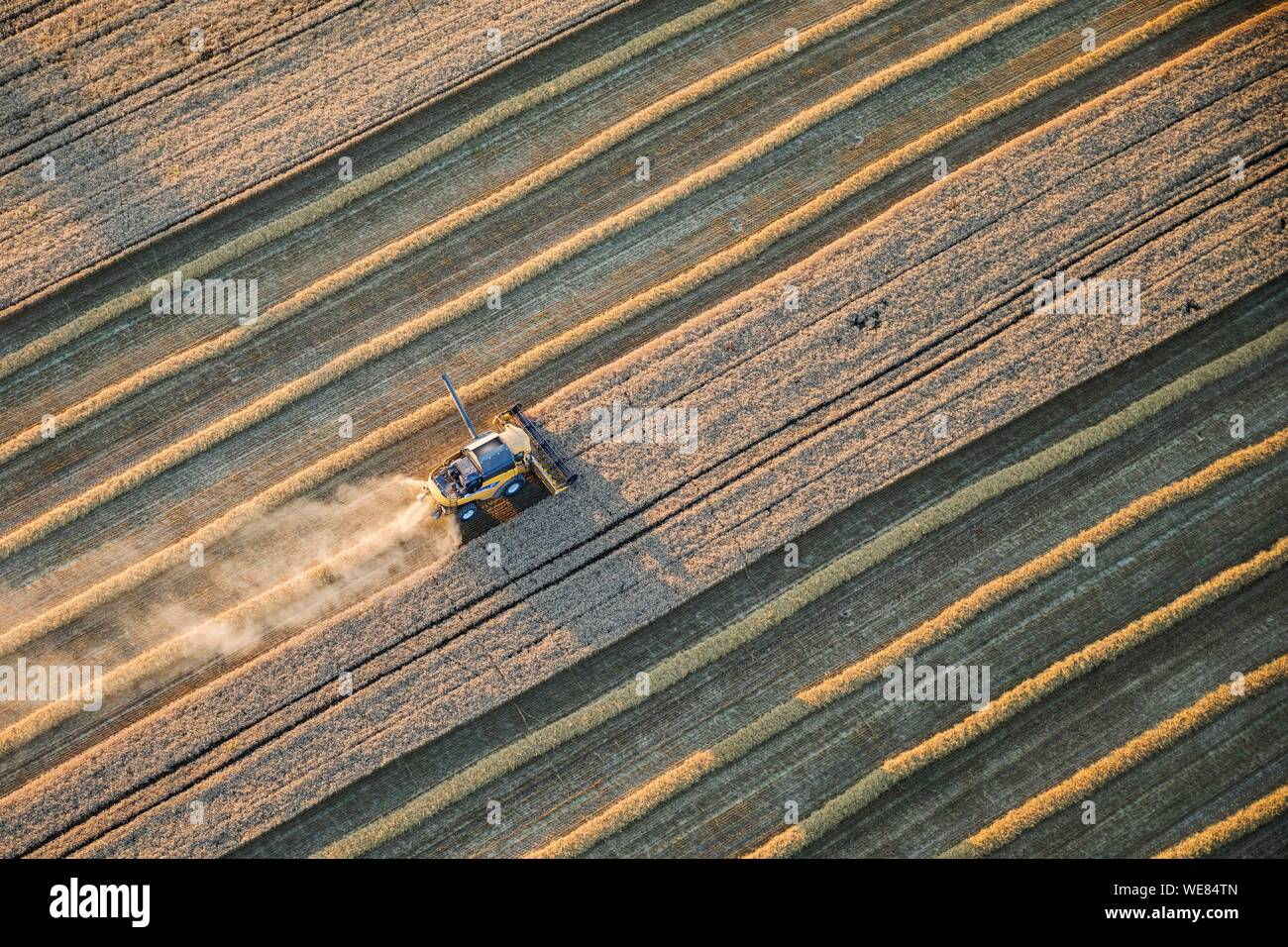 France, Haut Rhin, Sundgau, harvest (aerial view) Stock Photo