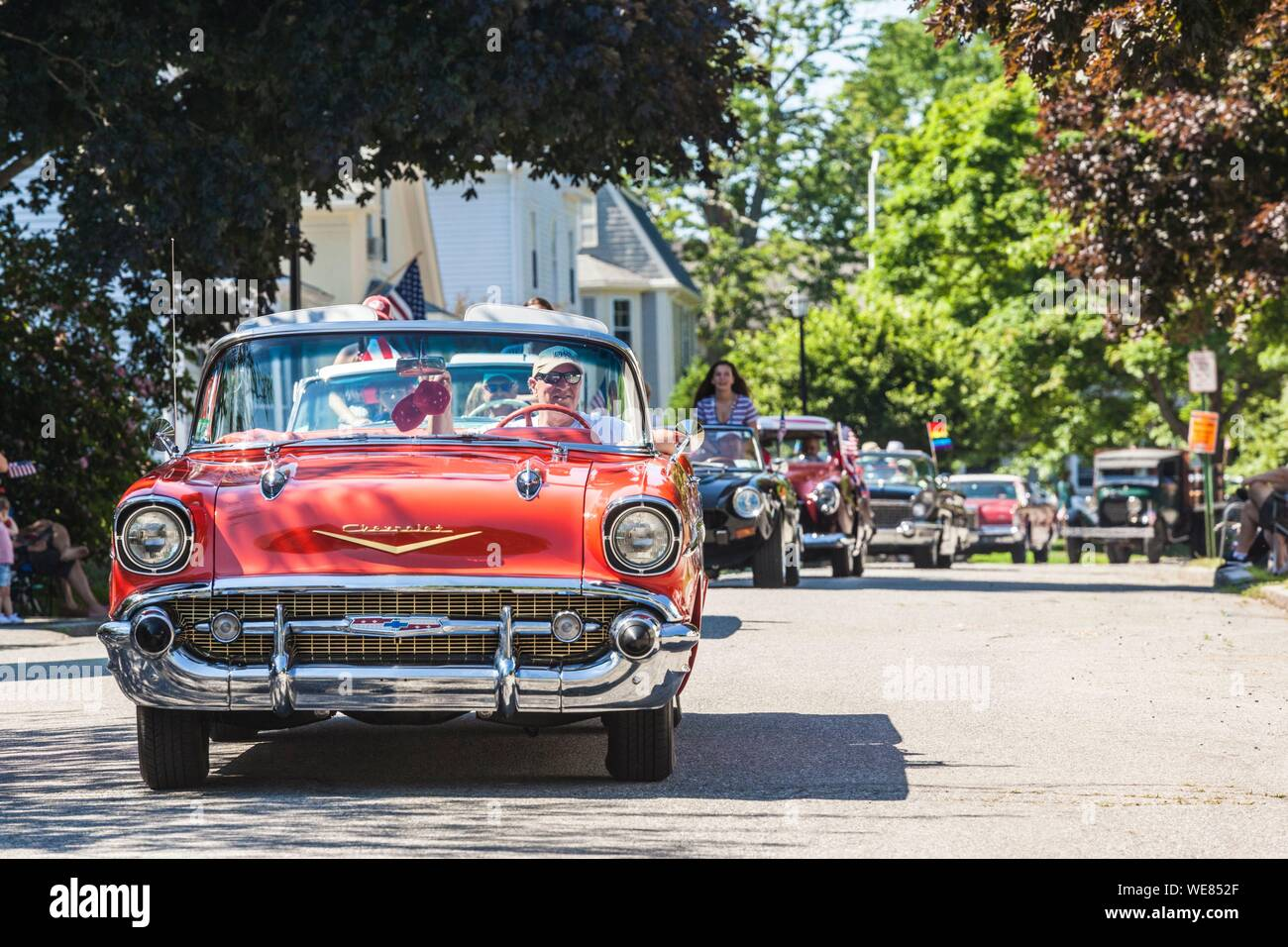 United States, New England, Massachusetts, Cape Ann, Gloucester, Fourth of July Parade, antique car Stock Photo