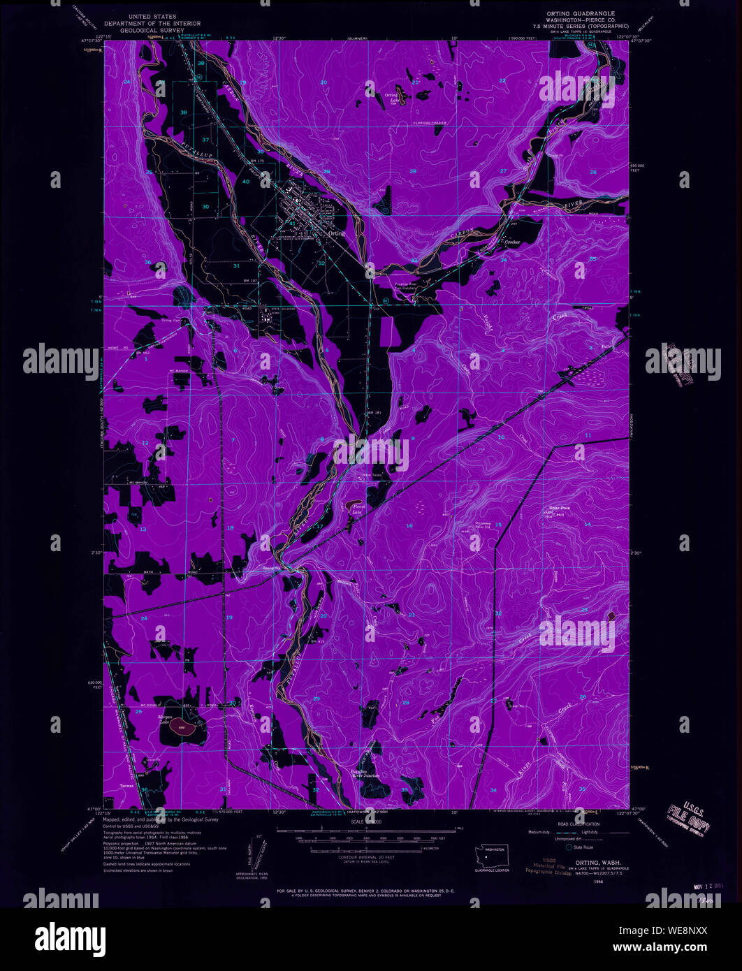 USGS Topo Map Washington State WA Orting 243006 1956 24000 ...