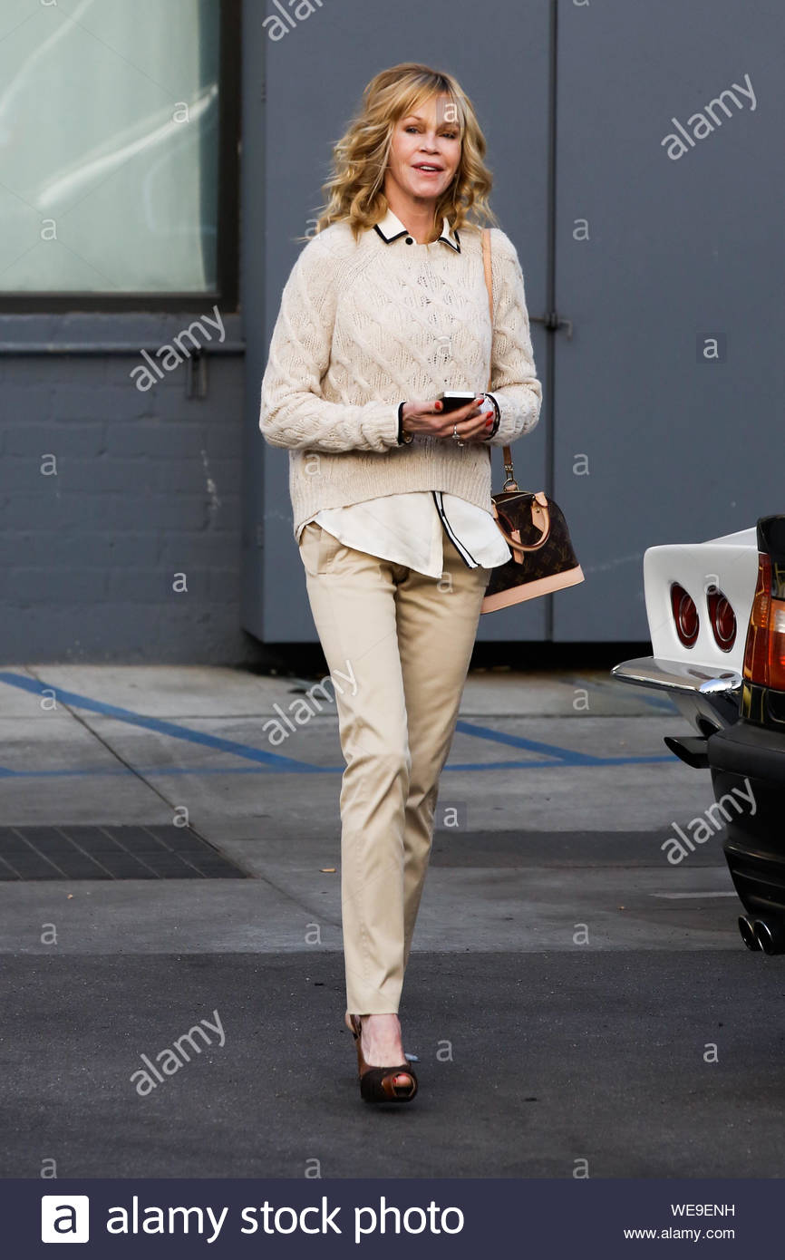 Beverly Hills, CA - Actress Melanie Griffith is all smiles as she arrives at Rossano Ferretti Hairspa in Beverly Hills. AKM-GSI November 15, 2013 Stock Photo