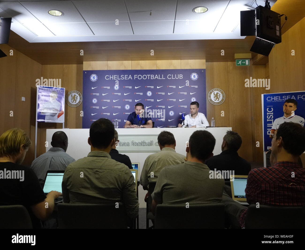 Cobham, UK. 30th Aug, 2019. Cobham, Surrey, UK., . Frank Lampard, Chelsea Football Club Manager addresses the media about Chelsea's Premier League match against Sheffield United FC at Stamford Bridge on Saturday. 31st. August, 2019 Credit: Motofoto/Alamy Live News Stock Photo