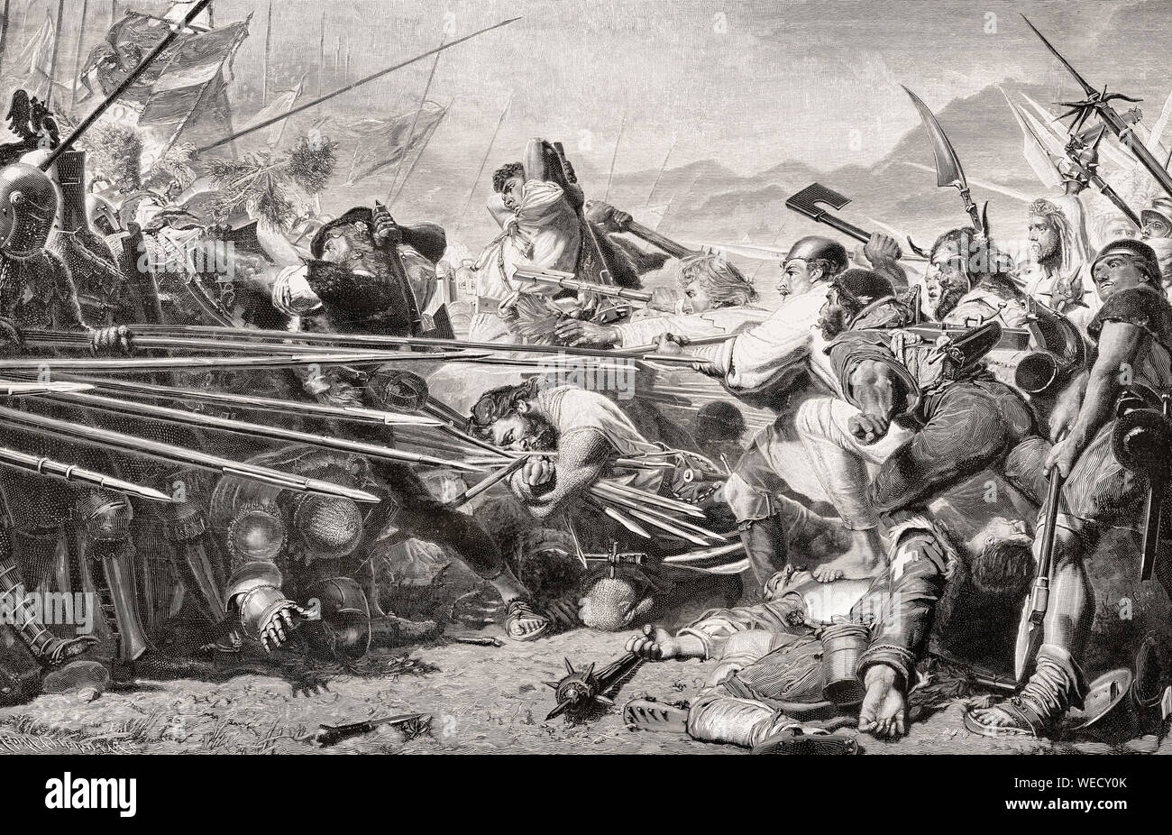 Death of Arnold von Winkelried, a legendary hero of Swiss history, Battle of Sempach, 1386 Stock Photo