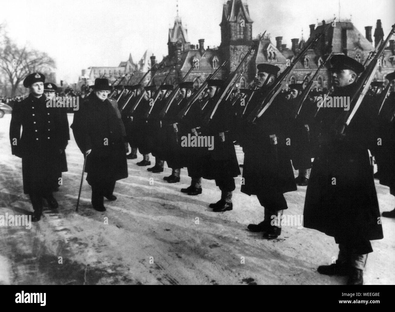 Winston Churchill inspecting Canadian Naval Cadets in Ottawa Stock Photo