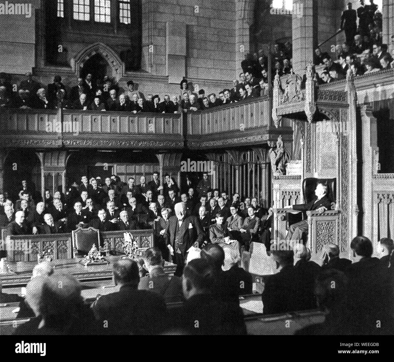 Winston Churchill addresses Canadian Parliamentarians in Ottawa. Stock Photo