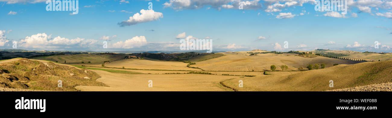 Panoramic Shot Of Crete Senesi Against Blue Sky Stock Photo