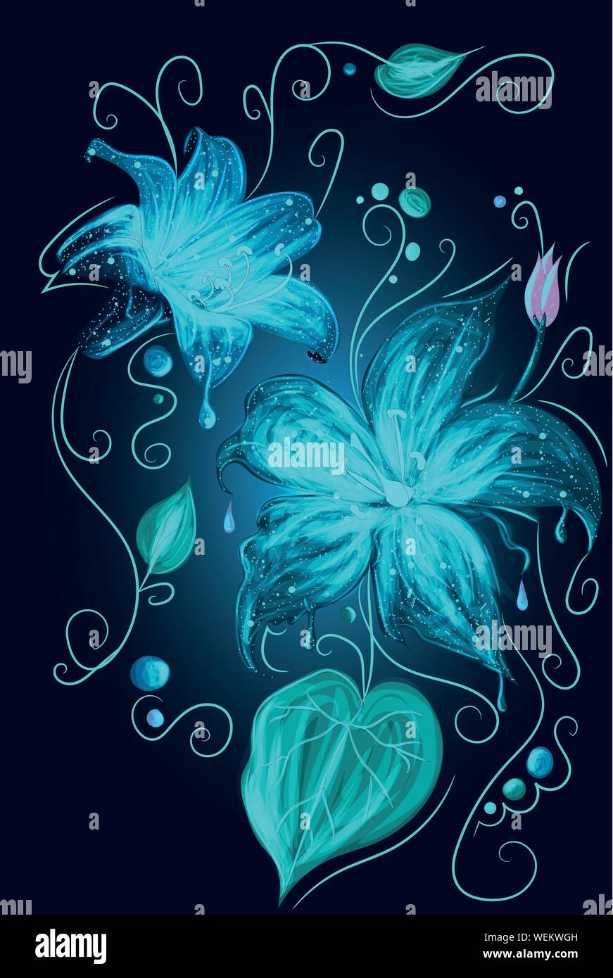 Magic Fantasy Neon Blue Flowers Beauty Of Nature Glowing Full