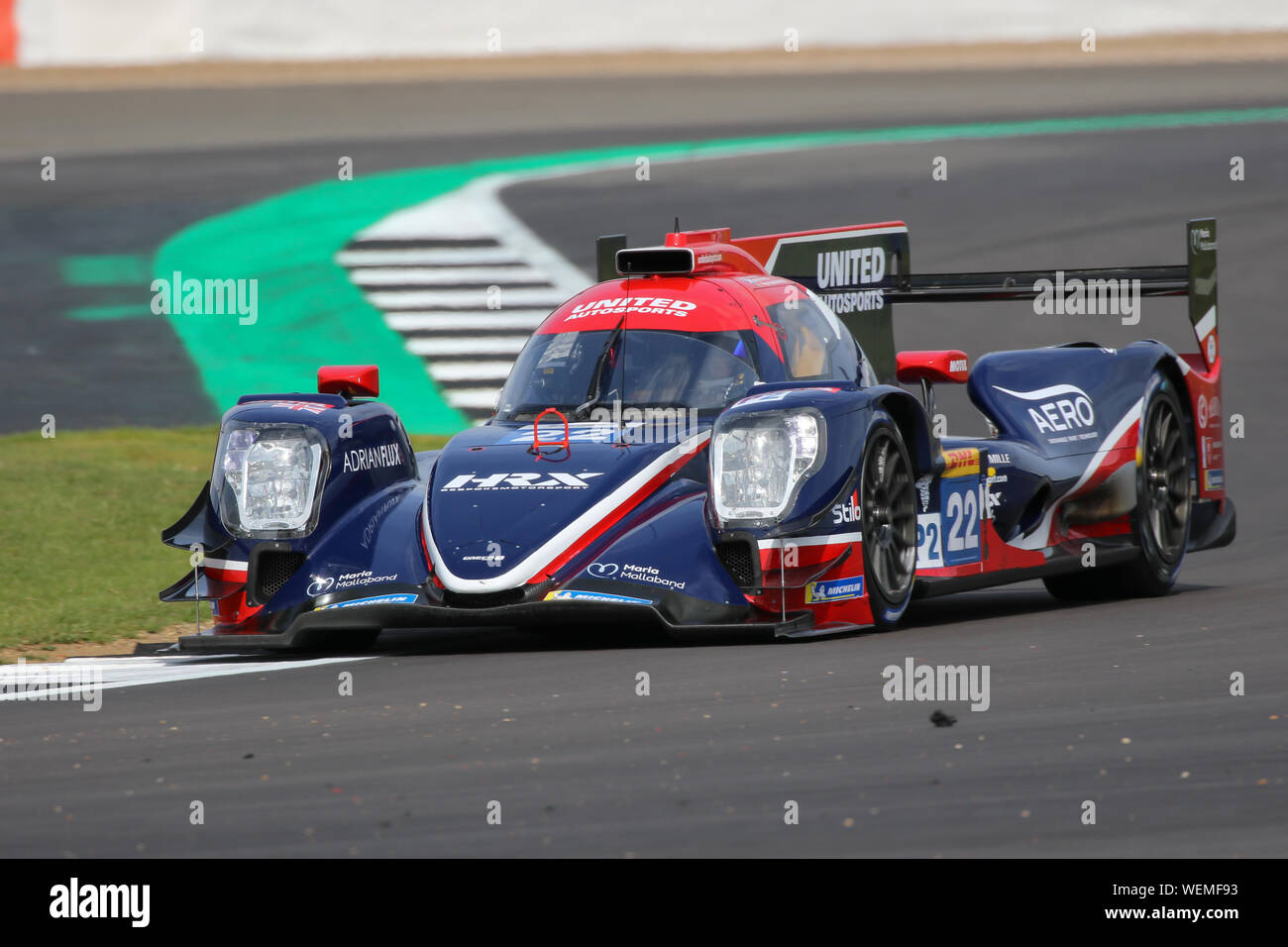 The #22 United Autosports Oreca 07-Gibson of Phil Hanson, Felipe Albuquerque and Paul Di Resta during practice for the FIA World Endurance Championshi Stock Photo