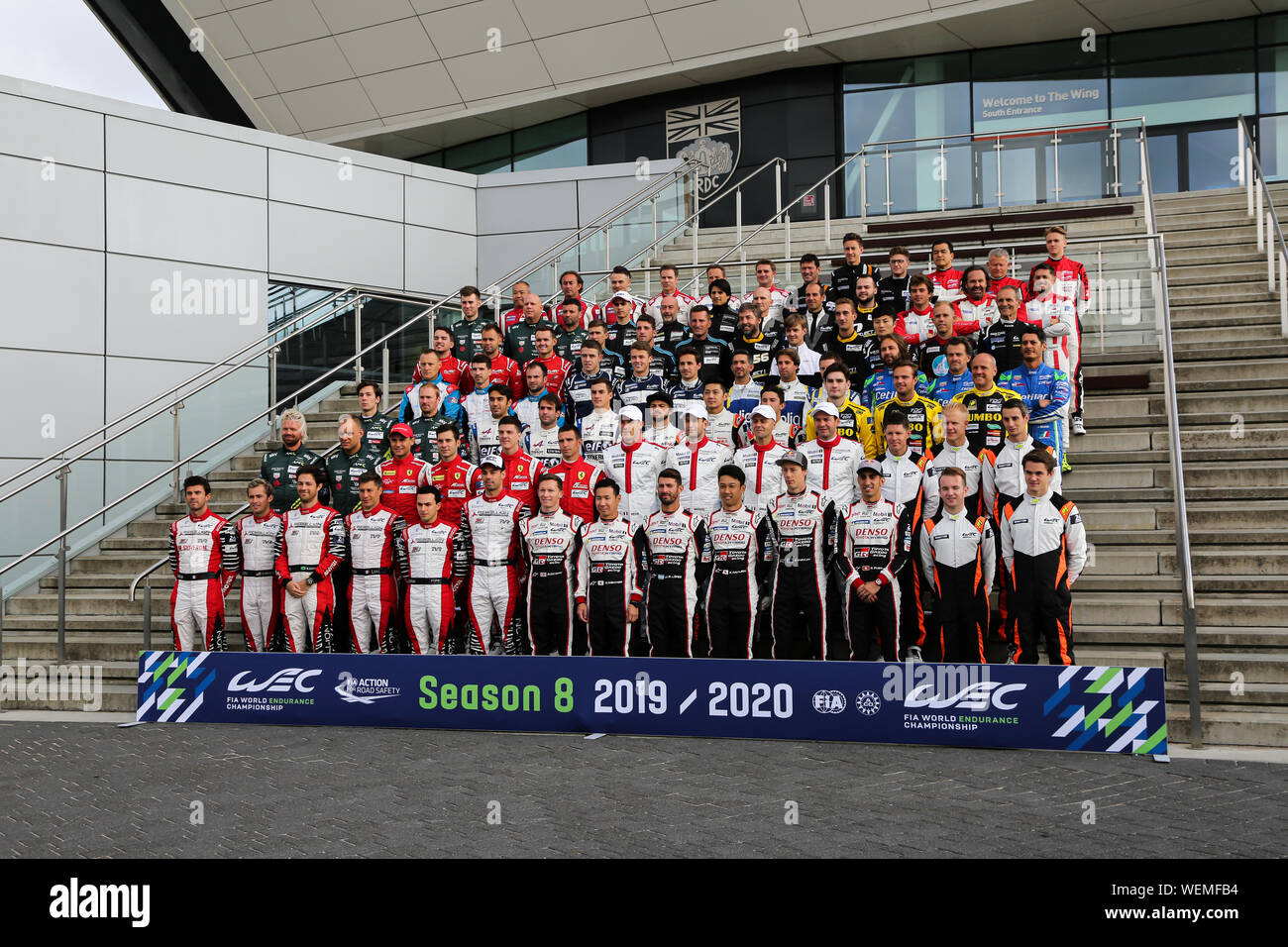 Competitors in the 2019-20 FIA World Endurance Championship pose for a group photo ahead of the opening round at Silverstone Stock Photo