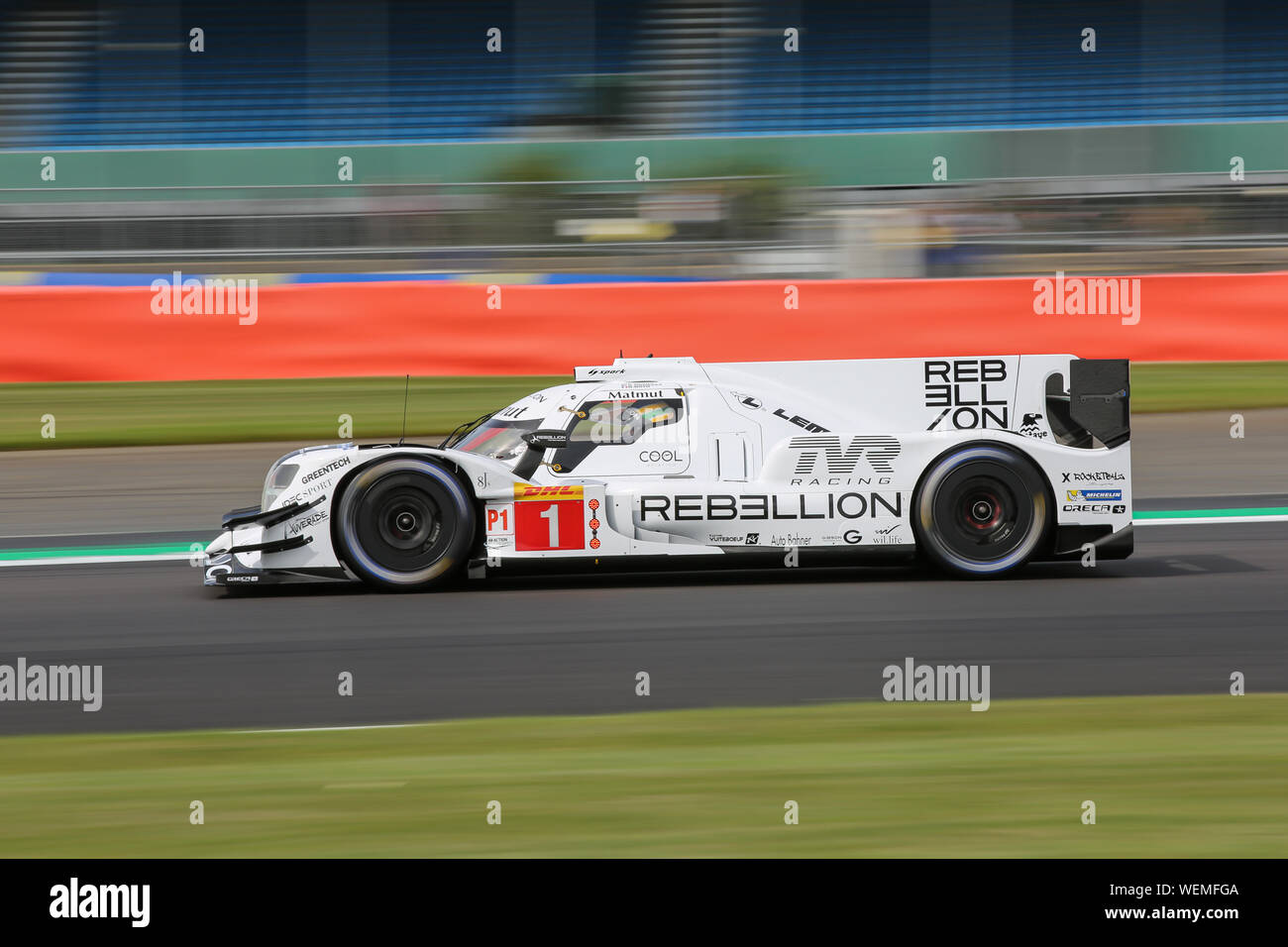 The #1 Rebellion Racing Rebellion R13-Gibson of Bruno Senna, Gustavo Menezes and Norman Nato during practice for the FIA World Endurance Championship Stock Photo