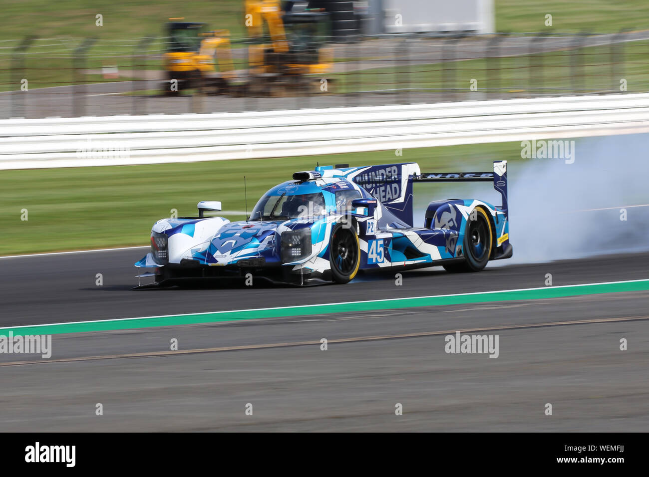 The #45 Carlin Dallara P217-Gibson of Jack Manchester, Harry Tincknell and Ben Barnicoat crashes during practice for the European Le Mans Series at Si Stock Photo