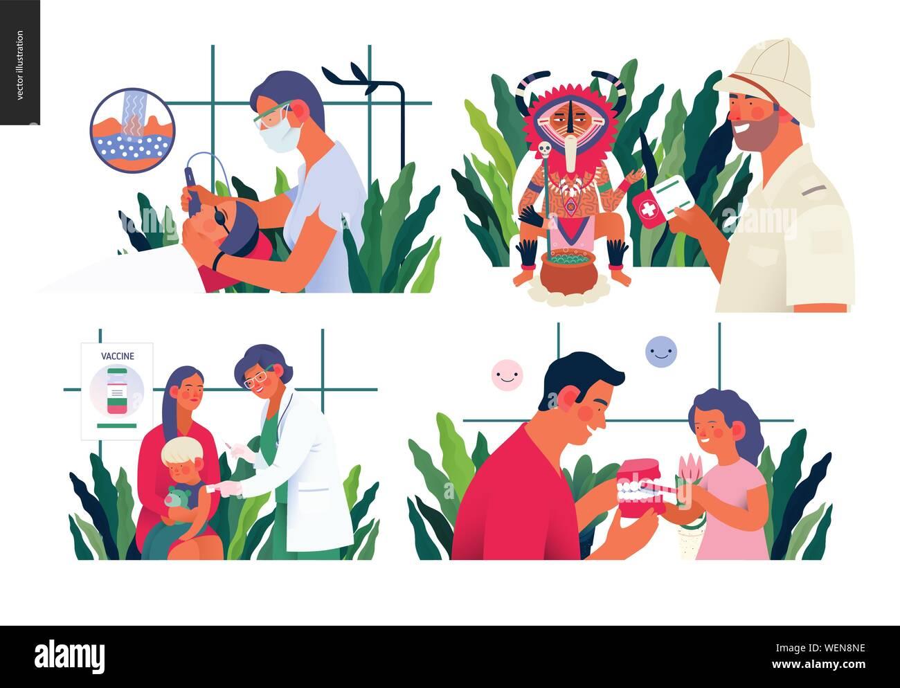 Set of medical insurance illustration- childhood