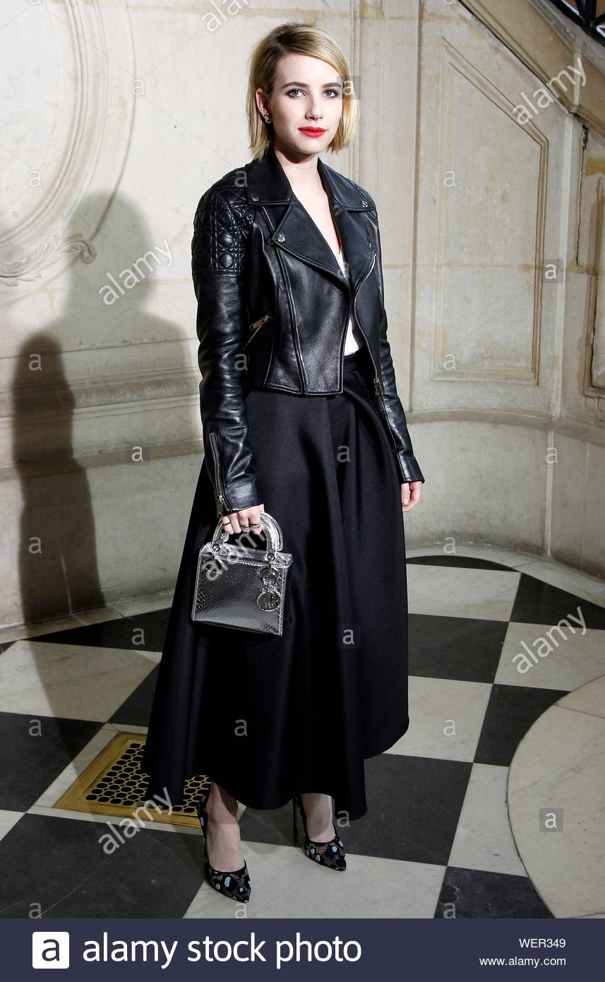 Paris France Emma Roberts Attends The Dior Fashion Show During Paris Fashion Week Showing Off Her Edgy Side The Actress Was Dressed In All Black Wearing A Black Skirt With A