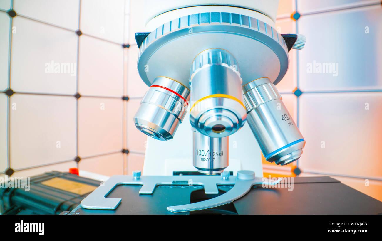 Light microscope lenses Stock Photo