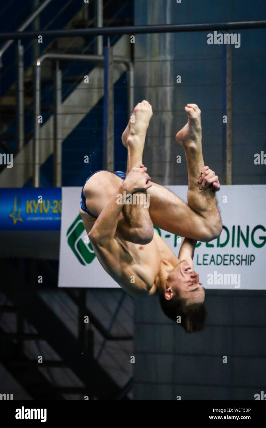 KYIV, UKRAINE - AUGUST 9, 2019: Gwendal BISCH of France performs during Mens 3m Springboard Final of the 2019 European Diving Championship in Kyiv, Ukraine Stock Photo