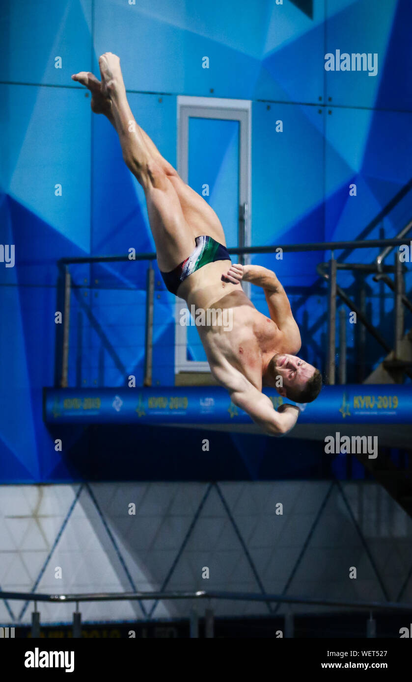 KYIV, UKRAINE - AUGUST 9, 2019: Lorenzo MARSAGLIA of Italy performs during Mens 3m Springboard Final of the 2019 European Diving Championship in Kyiv, Ukraine Stock Photo