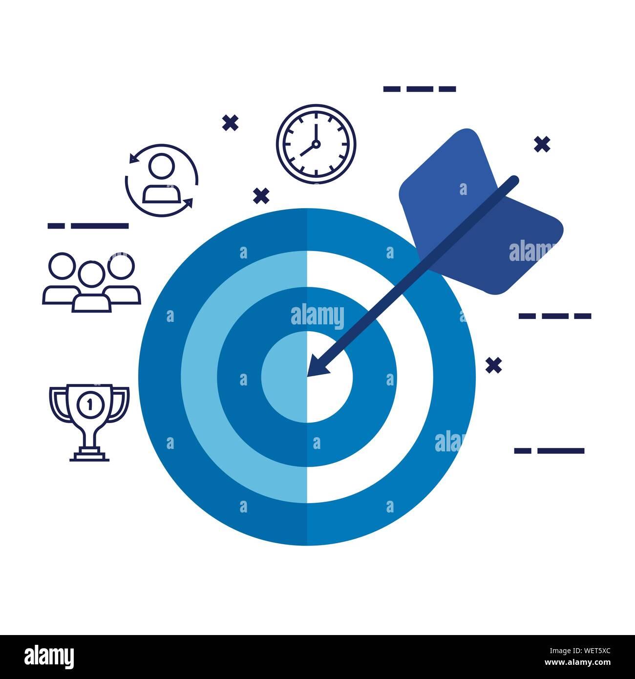 Target Arrow Success With Set Icons Stock Vector Art