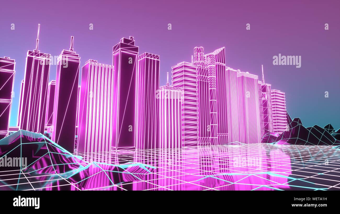 Retro Sci Fi Background With Futuristic City Suitable For Any
